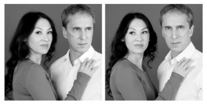 Amy Chua and her husband, Jed Rubenfeld, captured from two different cameras at the same moment/Barvara Probst for The New York Times