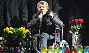 The former Ukrainian prime minister Yulia Tymoshenko addresses protesters in Kiev. Photograph: News Pictures/Rex