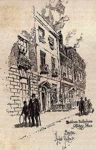 Rodney Place, where Thomas Lovell Beddoes was born. From The Poetical Works of Thomas Lovell Beddoes, edited by Edmund Gosse with etchings by Herbert Railton (London: J.M. Dent, 1890).