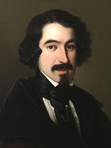 José de Espronceda, portrait by Antonio María Esquivel (c.1845)