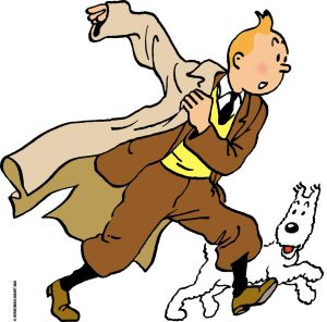 In this illustration released by the Herge Moulinsart foundation, cartoon character Tintin grabs his coat to chase after another adventure with his trusted dog Snowy in tow. Belgium increased its daily dose of Tintin to saturation point Friday, Jan.9, 2004, on the eve of the 75th birthday of the character, perhaps the country's most famous icon. (AP Photo/Herge/Moulinsart 2004) ** NO SALES , MANDATORY CREDIT ** BELGIUM TINTIN 75 2004-3109.JPG
