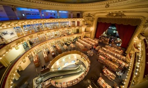 El Ateneo Grand Splendid mega bookstore in Buenos Aires is an old theatre converted into a modern bookshop. Photograph: Alamy