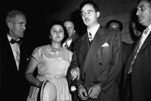Ethel and Julius Rosenberg during their 1951 trial  in New York. They were convicted of conspiracy to commit espionage – the government claimed they had stolen the secret to the atomic bomb and all but triggered the Korean War. Credit Associated Press