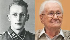 Left: Oskar Groening as a young man in an SS uniform in an undated photo; right: Groening in the dock of the court in Lueneburg, northern Germany, April 21, 2015. AP