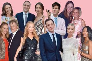 Top row from left, Mary-Clare Elliot, Ben and Jemima Goldsmith, Isaac Ferry, Chelsea Clinton and Maya von Schoenburg; bottom row from left, Sir Tom and Lady Stoppard, Paris Hilton, James Rothschild and Nicky Hilton, Naomi Campbell