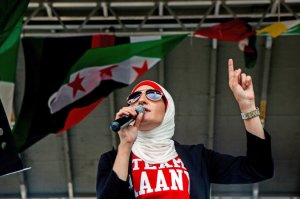 Linda Sarsour at the Arab American Association of New York's annual Arab American Bazaar. Credit Sam Hodgson for The New York Times