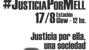 """El afiche con el reclamo de justicia de la familia de """"Mell""""."""