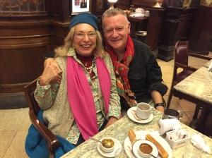 Glenna Luschei, Vice-President of Interlitq, with Peter Robertson, President of Interlitq, Café Tortoni, Buenos Aires, August, 2016