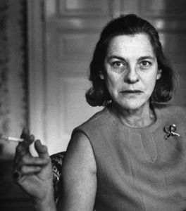 Author Mary McCarthy holding cigarette.  (Photo by Horst Tappe/Pix Inc./Time Life Pictures/Getty Images)